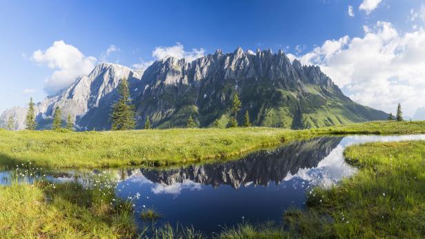 Warm summer day at Mount Hochkönig, European Alps - XXL Panorama